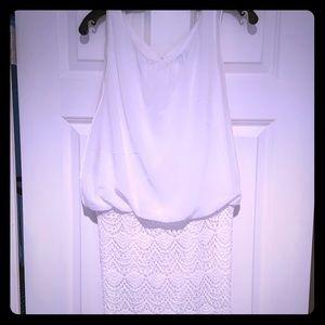 White sleeveless Karlie dress, lace bottom